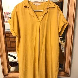 Mustard Yellow Collared Shirt Dress